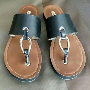 Black Slide On Sandals sz 5 1/2